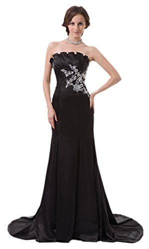 MonthStars Women's Satin Strapless Evening Dresses Long Party Prom Gowns (US10, Black)