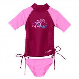 Sun Busters Girls UV Ruched Swim Set - UPF50+ Sun Protection Age 2 - 12 years (Cranberry/Raspberry & Grape/Plum)