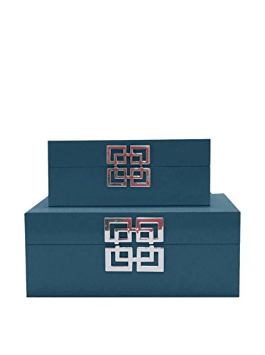 Three Hands Set of 2 Blue Wood Boxes