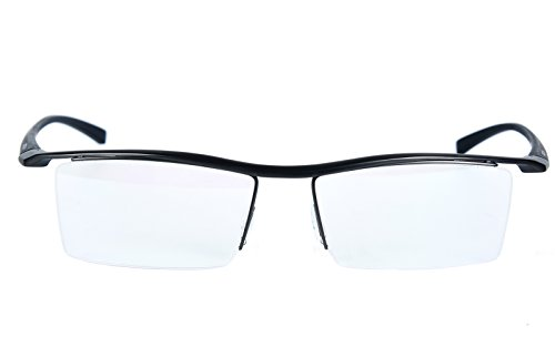 Agstum Pure Titanium Half Rimless Business Glasses Frame Optical Eyeglasses Clear Lens (Gunmetal)