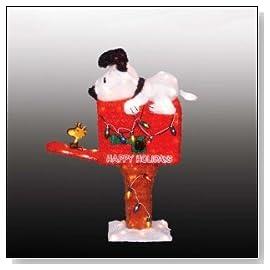 Animated Tinsel Peanuts Snoopy On Mailbox Lighted 3-D Christmas Yard Art