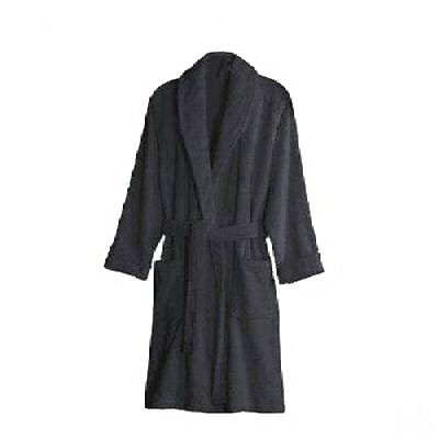 450 GSM BLACK 100% Cotton Terry Towelling Bathrobe - Free Size