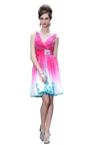 CharliesBridal Fuchsia Fade Color V-Neck Knee Length Prom Dress - M - Fuchsia