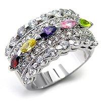 Antique Style CZ Rings   Antique Design Multicolor CZ Ring