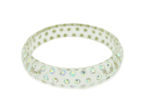 Baby Austrian Crystal Lucite Bangle Bracelet-CLEAR