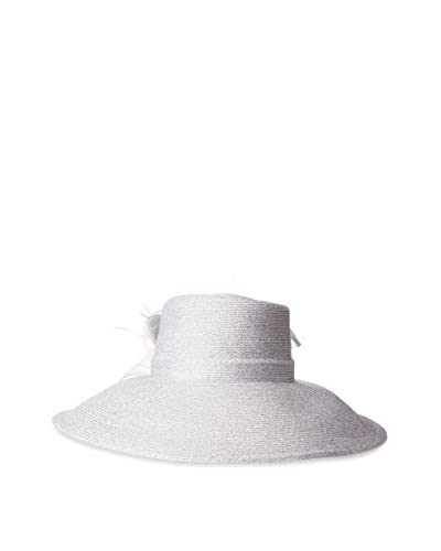 Badgley Mischka Women's Large Romantic Profile Hat, White/Silver As You See