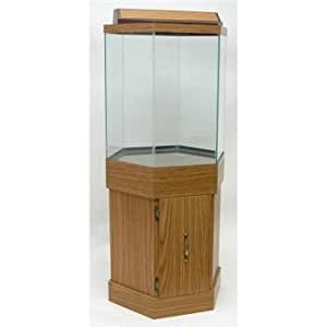 Aqua cabinet all glass aquarium aga hexagon for Hexagon fish tank with stand