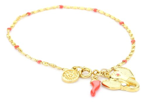 Blee Inara Elephant and Italian Horn Coral 18k Gold Plated Enamel Bracelet