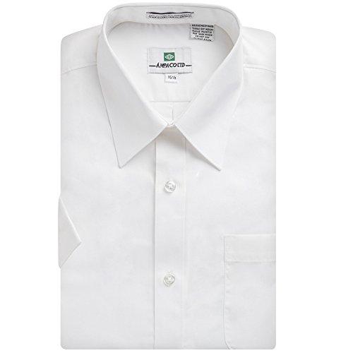 Ampaco-Mens-Regular-Fit-Short-Sleeve-Easy-Care-Solid-White-Dress-Shirt