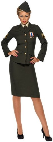 Smiffys USA 196705 Wartime Officer Female Adult Costume - Green - Medium