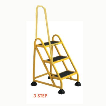 Stop-Step Ladder - 3 Step with Left Handrail in Yellow