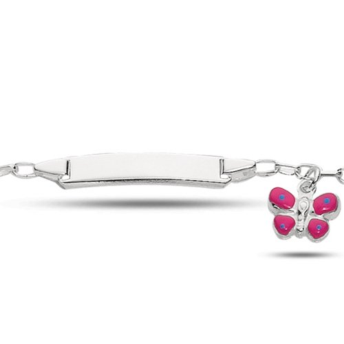 Baby Id Cable Link Bracelet With Butterfly In Sterling Silver (6 Inches)
