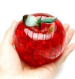 PicknBuy 3D Crystal Apple Jigsaw Puzzle IQ Toy Model Decoration (Red)