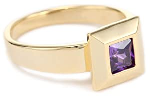 "nOir ""New Cubic Zirconia"" Purple and Gold Modern Stackable Square Ring, Size 7"