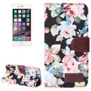Flowers Pattern Horizontal Flip Leather Case with Card Slots Holder for iPhone 6 Plus(Black)