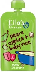 Ella'S Kitchen Organic Baby Food Stage 1 - 4+ Months - Pears, Apples & Baby Rice - 4.2 Oz. Pouch