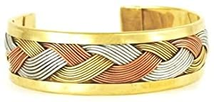 Large Brass Weave Cuff Bracelet Women's Men's Jewelry