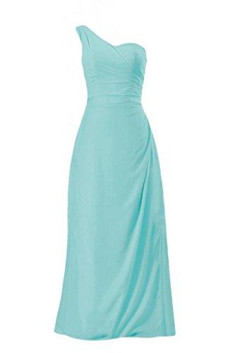 Daisyformals Floor Length One Shoulder Chiffon Bridesmaid Dress(Bm7872)- Tiffany Blue