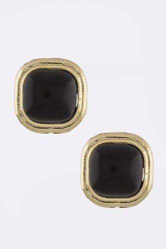 Karmas Canvas Classic Bezel Set Round Square Earrings (Black)