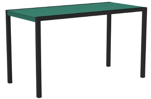 73 Outdoor Recycled Earth-Friendly Bar Table - Aruba Green with Black Frame 42 outdoor recycled earth friendly bar table sand brown with silver frame