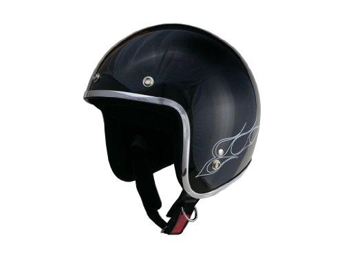 リード工業(LEAD) BARTON BC-6  ジェットヘルメット ブラック/ホワイトフレア フリーサイズ(57~60cm未満)