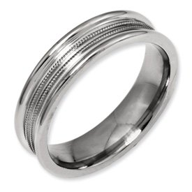 Genuine IceCarats Designer Jewelry Gift Titanium Grooved And Beaded 6Mm Polished Band Size 8.00
