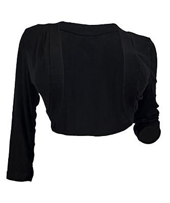 eVogues Plus Size Black 3/4 Sleeve Cropped Bolero Shrug