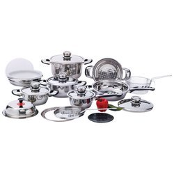 Chef'S Secretâ® 22Pc 12-Element, High-Quality, Heavy-Duty Stainless Steel Cookware Set , 22Pc 12-Element Ss Cookware St front-571623
