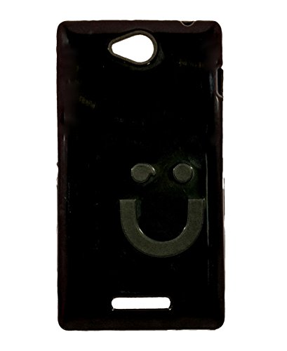iCandy™ Imported Quality Soft TPU Smiley Back Cover For Sony Xperia C C2305 S39H - Black  available at amazon for Rs.109