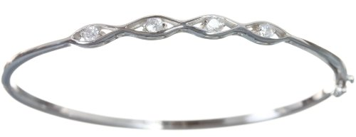 Beautiful 925 Sterling Silver Ladies Bangle with Cubic Zirconia/CZ - 6cm*2mm, 6 Grams