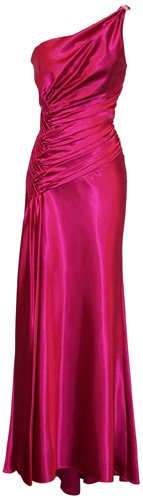 One Shoulder Satin Goddess Formal Gown Prom Dress