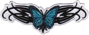 "HEART, SKULL, TATTOO Art arte Blue blu Butterfly farfalla Tribal Patch, Officially Licensed Artwork, Iron-On / Sew-On, 3.3"" x 3.1"" Embroidered ricamato PATCH"