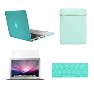 "TopCase Macbook Pro 13"" 13-inch (A1278 / with or without Thunderbolt) 4 in 1 Bundle - ROBIN EGG BLUE Ultra Slim Light Weight Crystal Hard Case Cover + Matching Color Soft Sleeve Bag + Silicone Keyboard Cover + LCD HD Clear Screen Protector - NOT FOR RETINA DISPLAY - With TopCase Mouse Pad"