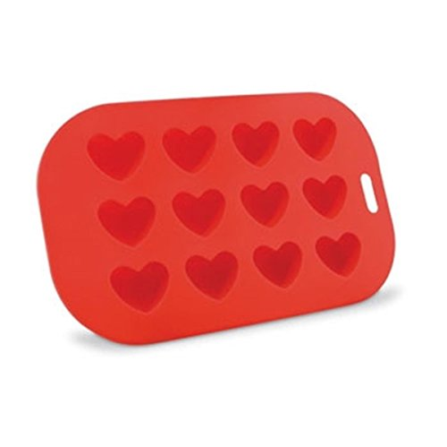 9 Inch Unique Twelve Heart Shaped Silicone Ice Cube Tray, Red (Hearts Ice Cube Tray compare prices)