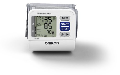 Omron BP629 3 Series Wrist Blood Pressure Monitor, White, Small