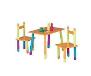 Zeller 13455 Color - Juego de mesa y sillas infantiles (tablero DM, 3 piezas, mesa: 40 x 60 x 42 cm, sillas: 28 x 28 x 53 cm) de Zeller