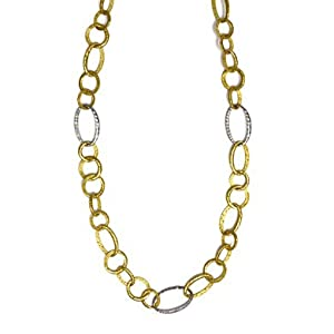 18k Two-Tone Large Oval Links 1.65ct Diamond Necklace 34 In - JewelryWeb