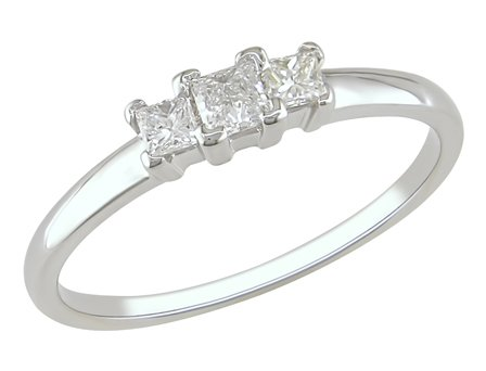 14K White Gold, Diamond Ring, (.25 cttw, GH Color, SI1 Clarity)