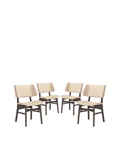 Modway Vestige Set of 4 Dining Side Chairs, Walnut Beige