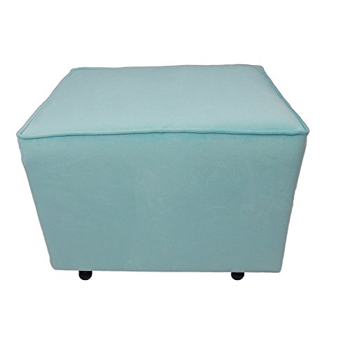 Fun Furnishings Comfy Cozy Velvet Ottoman, Aqua