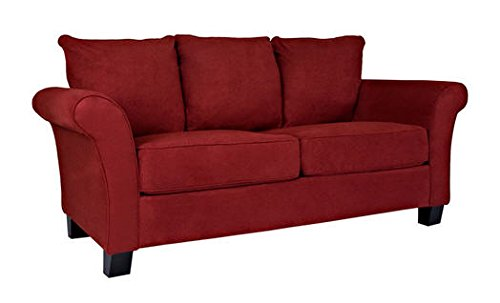Portfolio Provant Flared Arm Crimson Red Sofa Thick Cushioned Microfiber Settee Cottage Stzle Loveseat