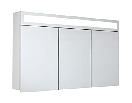 myBATH Horizon MYBSPKMD Bathroom Cabinet with Mirrors / Adjustable Glass Shelves / T5 Fluorescent Lamp / Soft-Close / Flip Switch / Pre-Assembled 120 cm