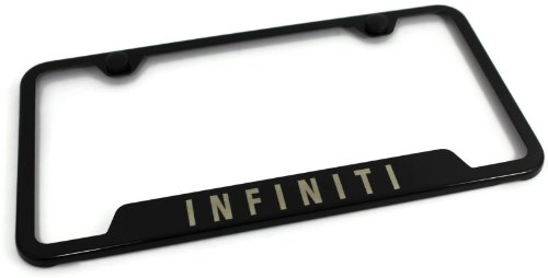 Infiniti Stainless Steel License Plate Frame G35 G37 EX FX JX QX Laser Etched Made in USA Frame - Black Gloss (Infiniti G37 Black Emblem compare prices)