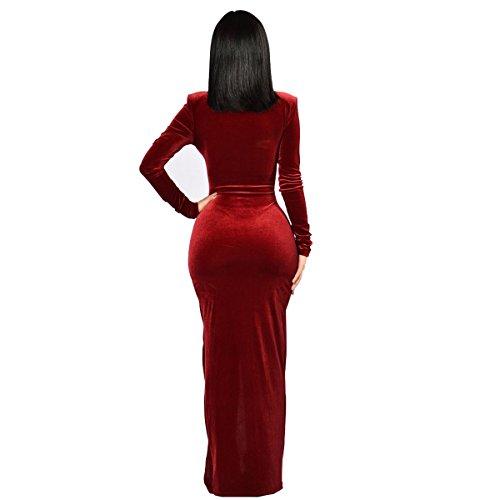 R.Vivimos Women Long Sleeve Deep V Neck Sexy Velvet Long Dresses 2XL Wine Red