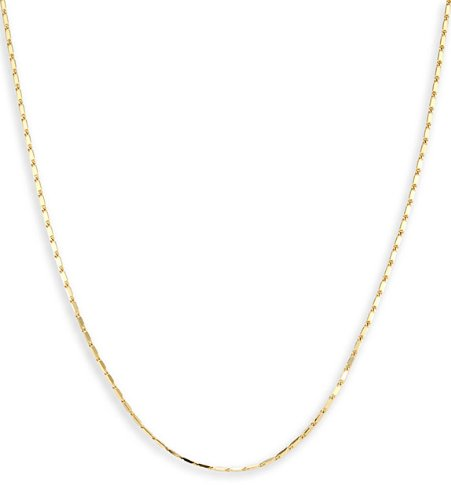 Solid 14k Yellow Gold Thin Chain Link Necklace 1.1mm