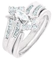 14k White Gold Natural Marquise Diamond Wedding Engagement Ring Set