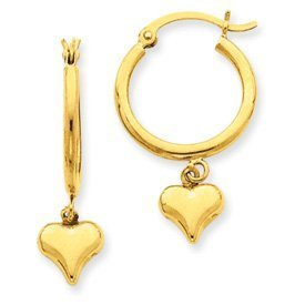 PriceRock 14k Gold Puffed Heart Dangle on Hoop Earrings