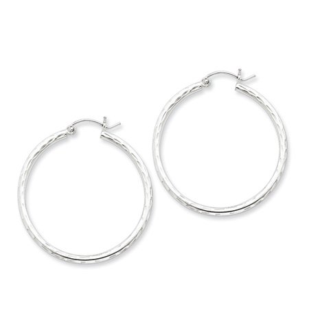 2mm Diamond-cut, Polished Silver Hoops - 50mm (1-7/8