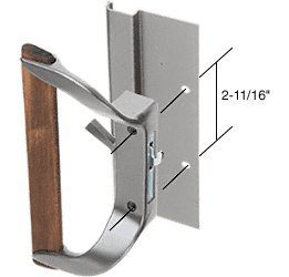 """Sliding Glass Patio Door Handle For Cupples Doors, 2-11/16"""" Screw Holes, Surface Mounted Hook-Style, Wood/Aluminum front-505489"""