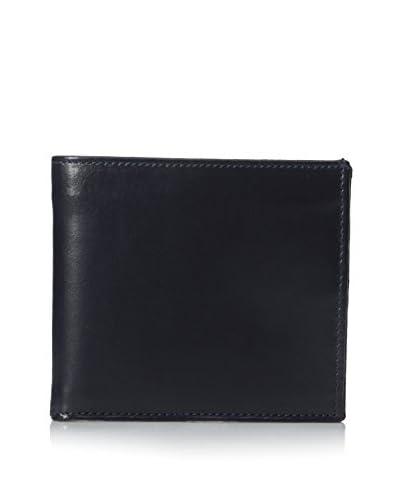 Leone Braconi Men's Soave Smooth Leather Bi-Fold Wallet, Navy